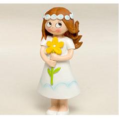 Figura Pastel Niña Comunión Flor