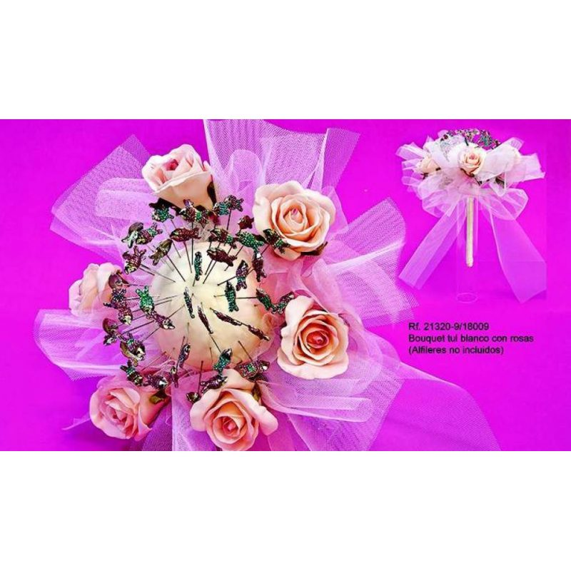 Bouquet Tul Blanco con Rosas