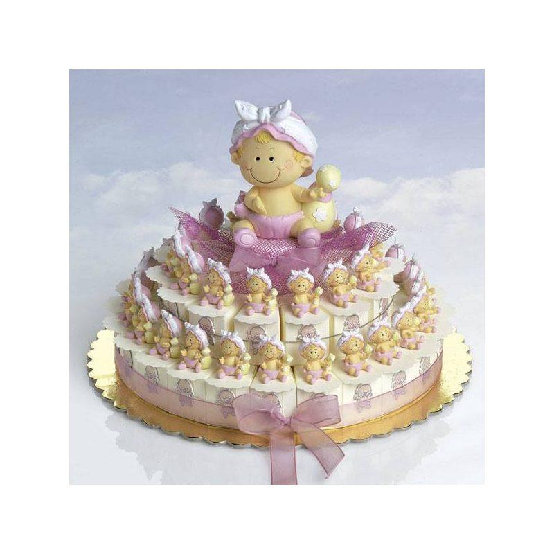 Tarta Cajitas Bebe Niña Pañal Rosa