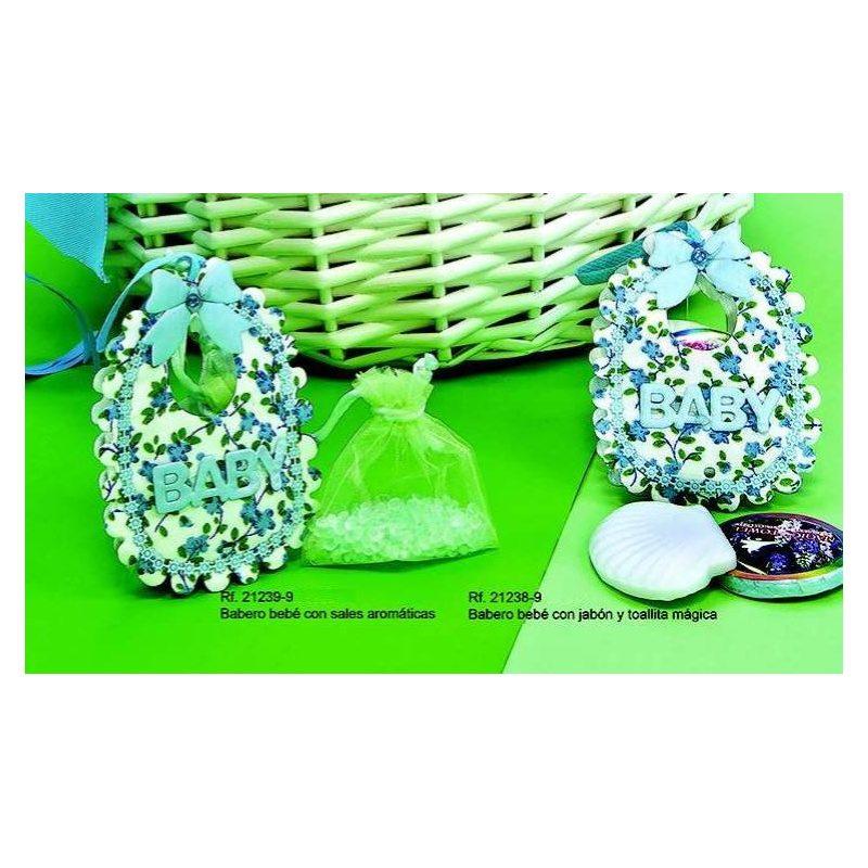 Babero Bebé Azul con Flores
