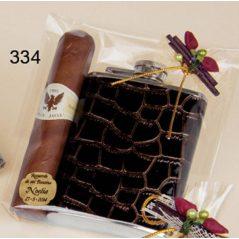 Petaca de Cuero con Puro de Chocolate