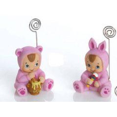 Sujeta-Tarjetas Bebe Pijama Animalito Rosa