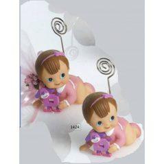 Sujeta-Tarjetas Bebe Niña Gateando Rosa