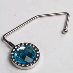 Cuelga Bolsos Metálico Cristal Azul Diamantes