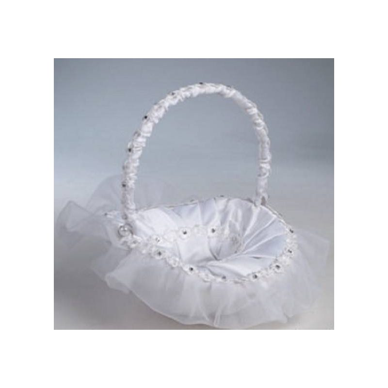 Cesta Arras Blanca Flores Diamantes