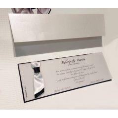 Invitación Lazo Plata y Negro