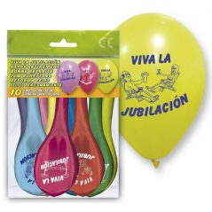 "Set 10 Globos ""Viva la Jubilación"""