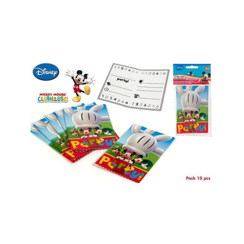 Pack 10 Invitaciones Mickey Mouse
