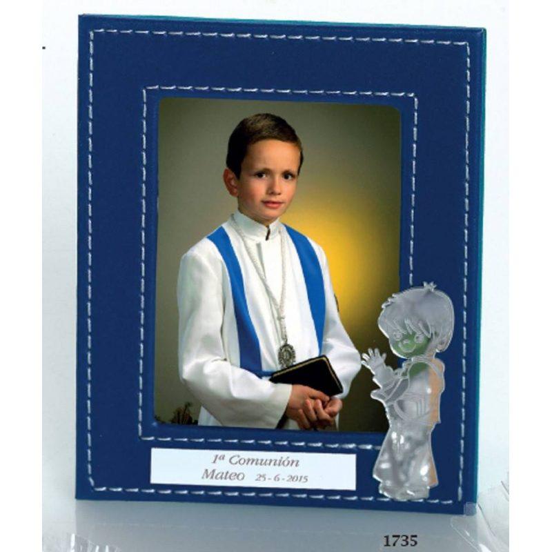 Portafotos Piel Azul Niño Comunión