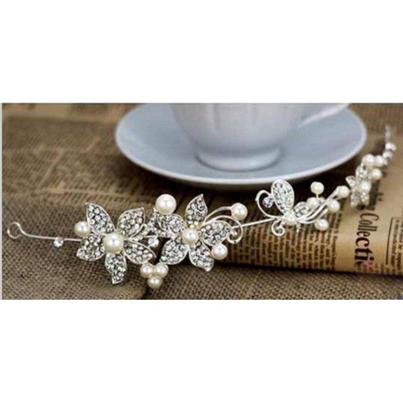 Tiara Flores y Perlas