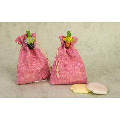 Bolsa de Saco Rosa con Pin Maceta y Jabones