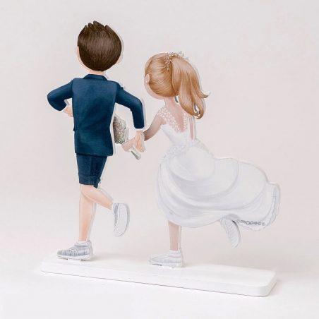 Figura Madera Novios Running
