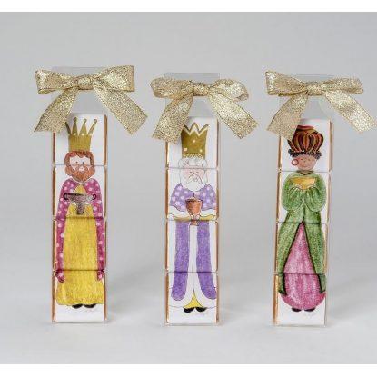Estuche de 4 chocolates en puzzle de los 3 Reyes Magos Detalles para Navidad