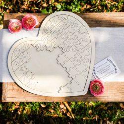 Puzzle de Firmas Madera Corazón Complementos de Boda y Novia14,00 €