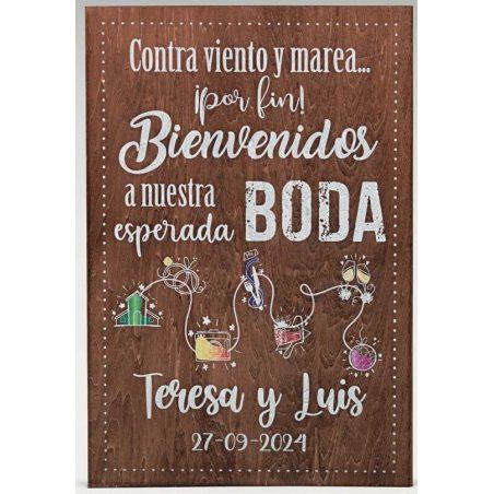 Cartel Madera Bienvenida Boda Recorrido Decoraciones de Boda32,85 €