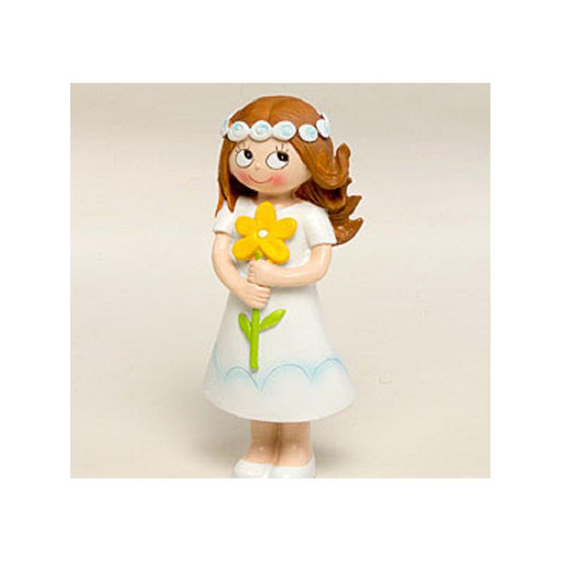 Figura Pastel Niña Comunión Flor Inicio