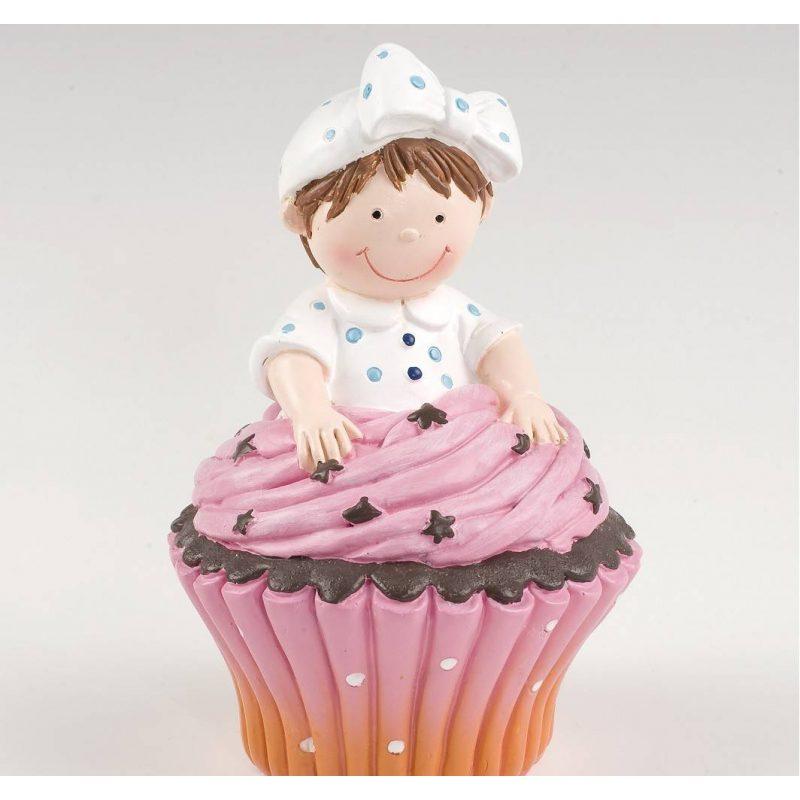 Figura Pastel Hucha Cupcake Niña Figuras para Tartas de Bautizo