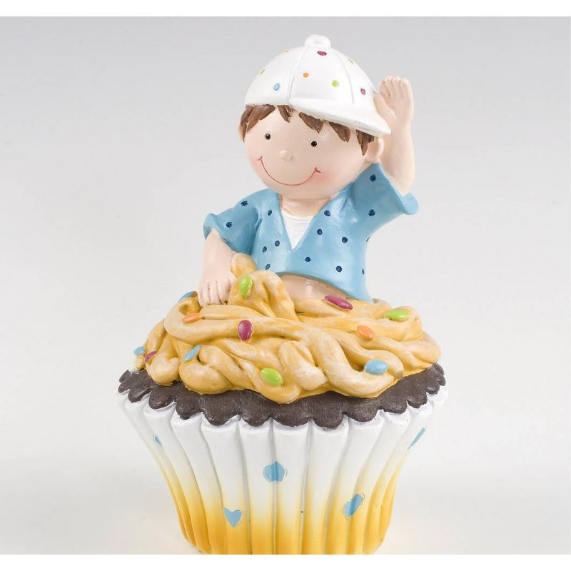Figura Pastel Hucha Cupcake Niño Figuras para Tartas de Bautizo