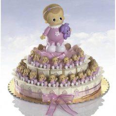 Tarta Cajitas Bebé Diadema Rosa