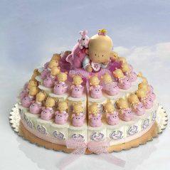 Tarta Cajitas Bebé Rosa sobre Animalito