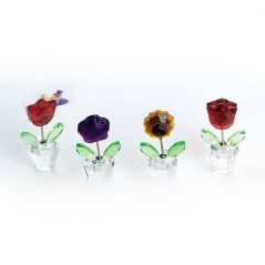 Portatarjetas Maceta Flor Cristal Inicio