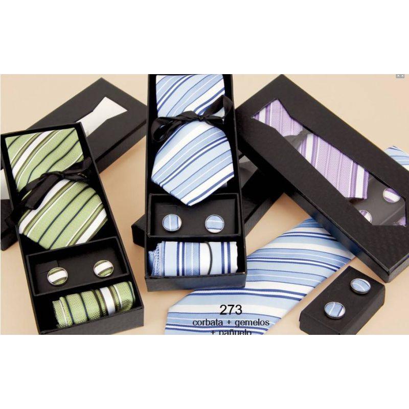 Set Corbata+Pañuelo+Gemelos Inicio