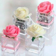 Cajita Transparente Flor y Lazo