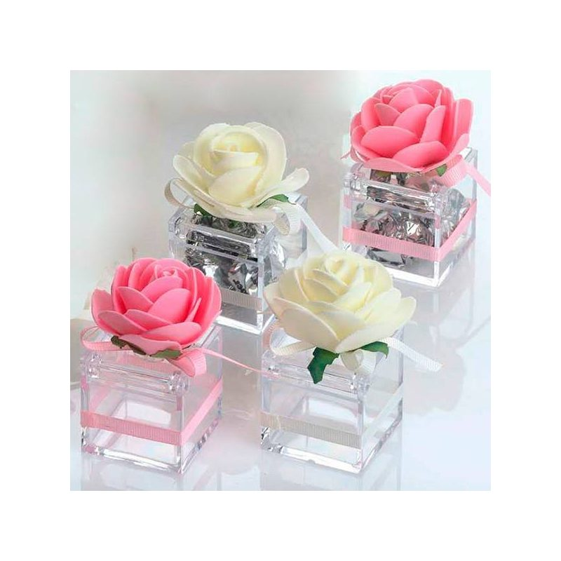 Cajita Transparente Flor y Lazo Inicio