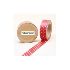 Cinta Adhesiva Washi Tape Roja-Blanca