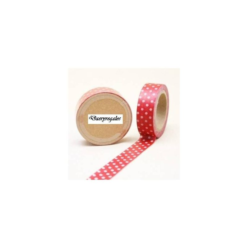 Cinta Adhesiva Washi Tape Roja-Blanca Inicio