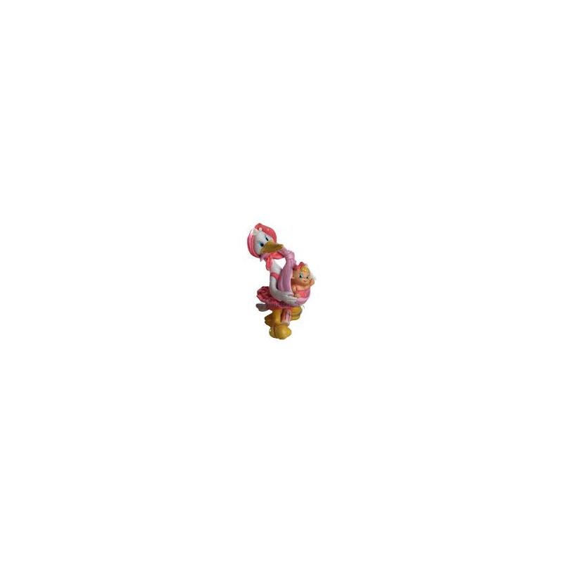 Cigueña Pañuelo Rosa Figuras para Tartas de Bautizo