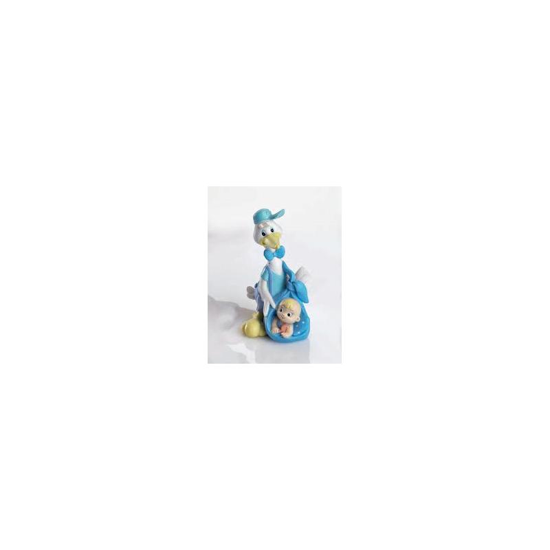 Cigüeña Gorrita Celeste Figuras para Tartas de Bautizo