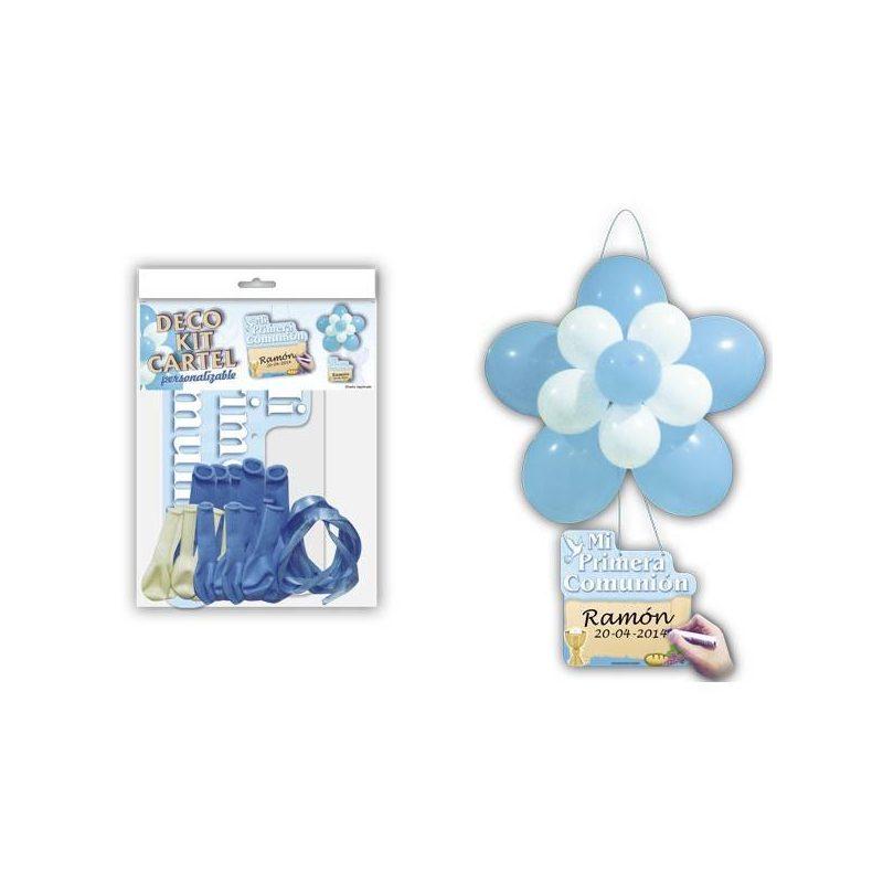 "Deco Kit Flor + Cartel ""Comunión"" Azul Inicio"