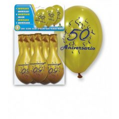"Set 8 Globos Oro ""50 Aniversario"""