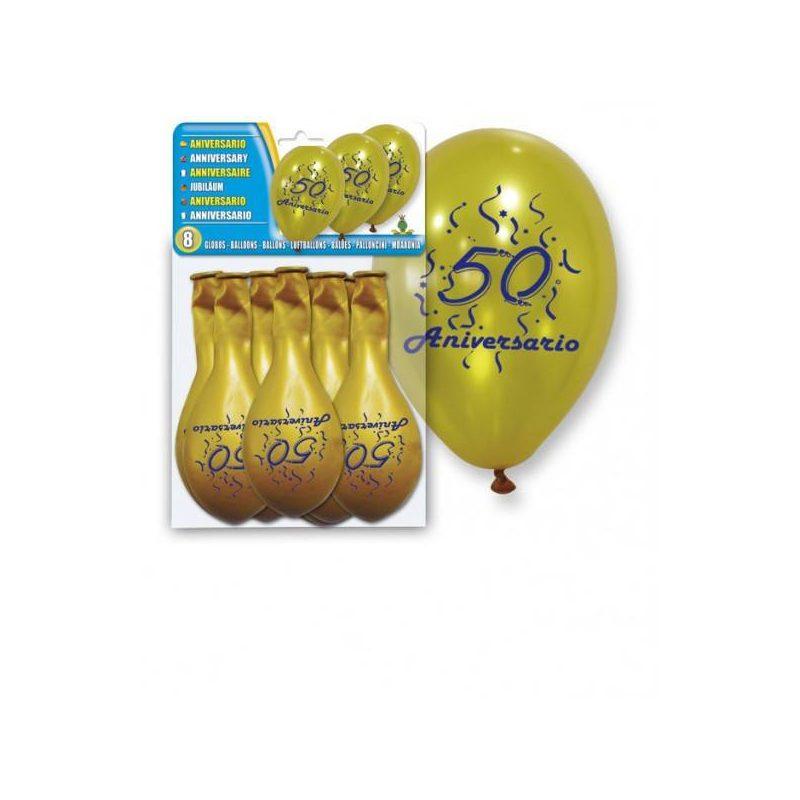"Set 8 Globos Oro ""50 Aniversario"" Inicio"