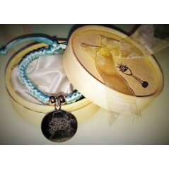 Pulsera Trenzada Medalla Angel de la Guarda Azul en Caja