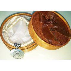 Pulsera Trenzada Medalla Angel de la Guarda Marfil en Caja