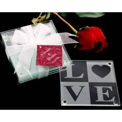 "Set 2 Posavasos Cristal ""Love"""