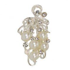 Broche Uvas Perlas Blancas