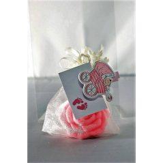 Jabón Rosa En Organza Flor Y Pinza Coche Velas, Espejos y Jabones para Recuerdos de Bautizos