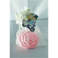 Jabón rosa En Organza flor y Pinza Novios Detalles de Boda Baratos1,05 €