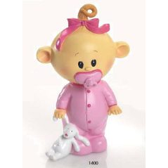 Hucha Bebé Chupete Rosa Figuras para Tartas de Bautizo