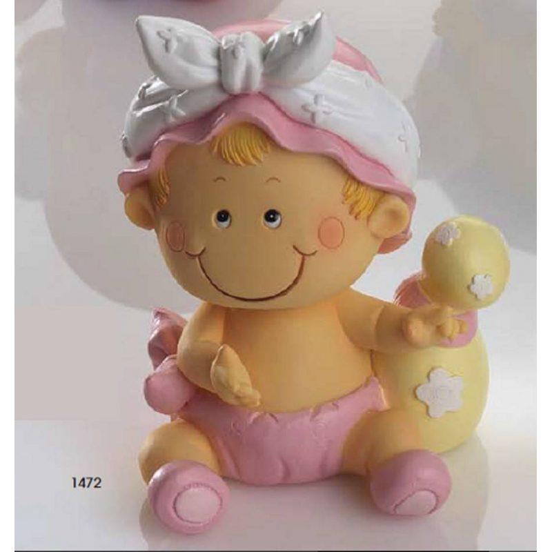 Hucha Bebé Niña Pañal Rosa Figuras para Tartas de Bautizo