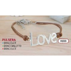 PULSERA MARRON LETRAS LOVE