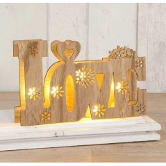 DECORACION MADERA LOVE CON LUCES LED Detalles de Boda Baratos