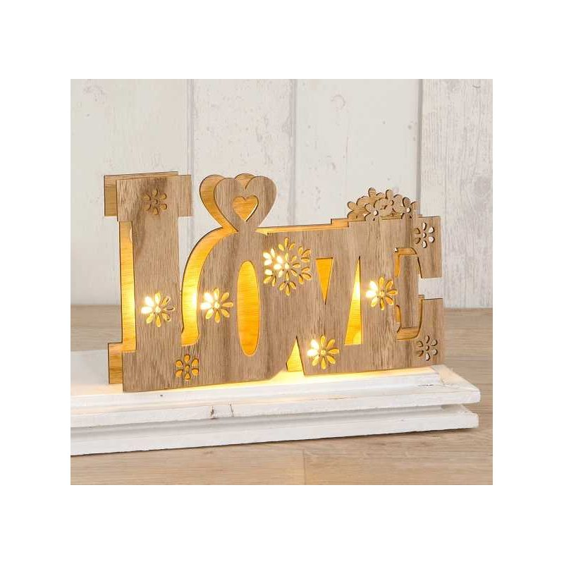 DECORACION MADERA LOVE CON LUCES LED