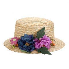 Sombrero Canotier con Cinta y Flores Inicio
