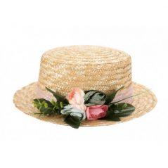 Sombrero Canotier con Cinta y Flores