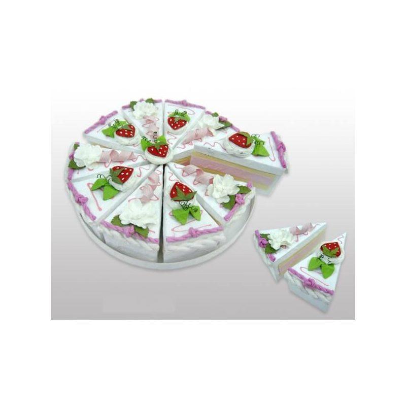 Set 10 Cajas Porción Pastelito Rosa Presentaciones de Comunión