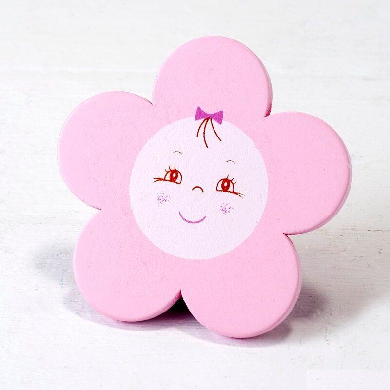 Imán Madera Flor Color Rosa Detalles de Bautizo Baratos0,68 €